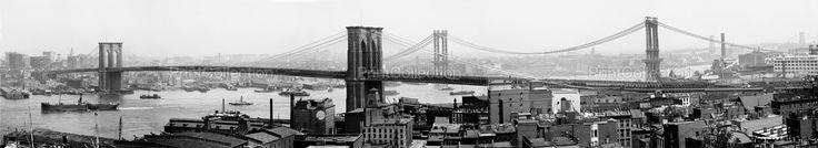 East River Bridges with New York Skyline