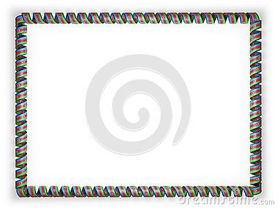 Frame and border of ribbon with the Azerbaijan flag, edging from the golden rope. 3d illustration.