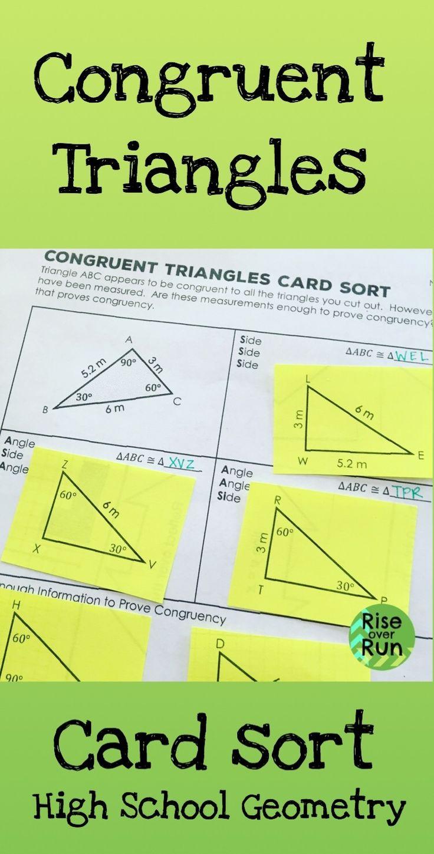 Congruent Triangles Card Sort High school activities