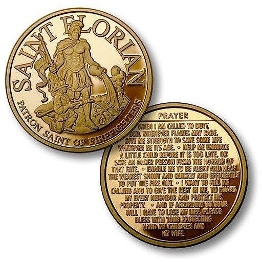 """Saint Florian - Fireman Prayer 1 7/8"""" MerlinGold Challenge Coin"""