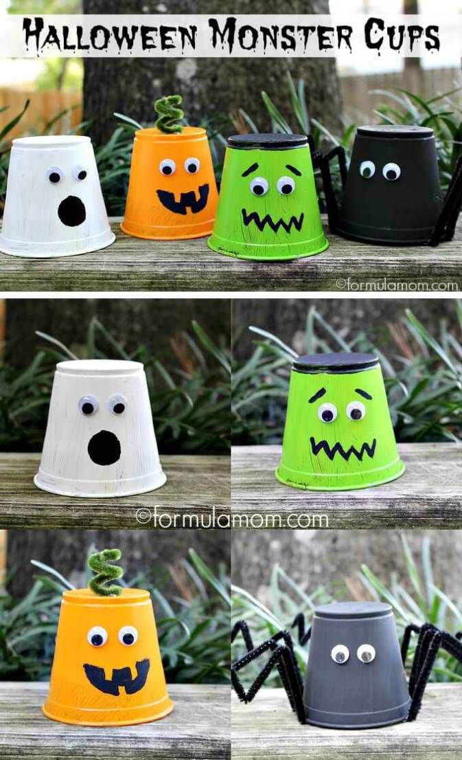 Party Cup Monsters Fun Creative Diy Halloween Crafts For Kids Halloween Diy Crafts Halloween Crafts Decorations Halloween Crafts For Kids