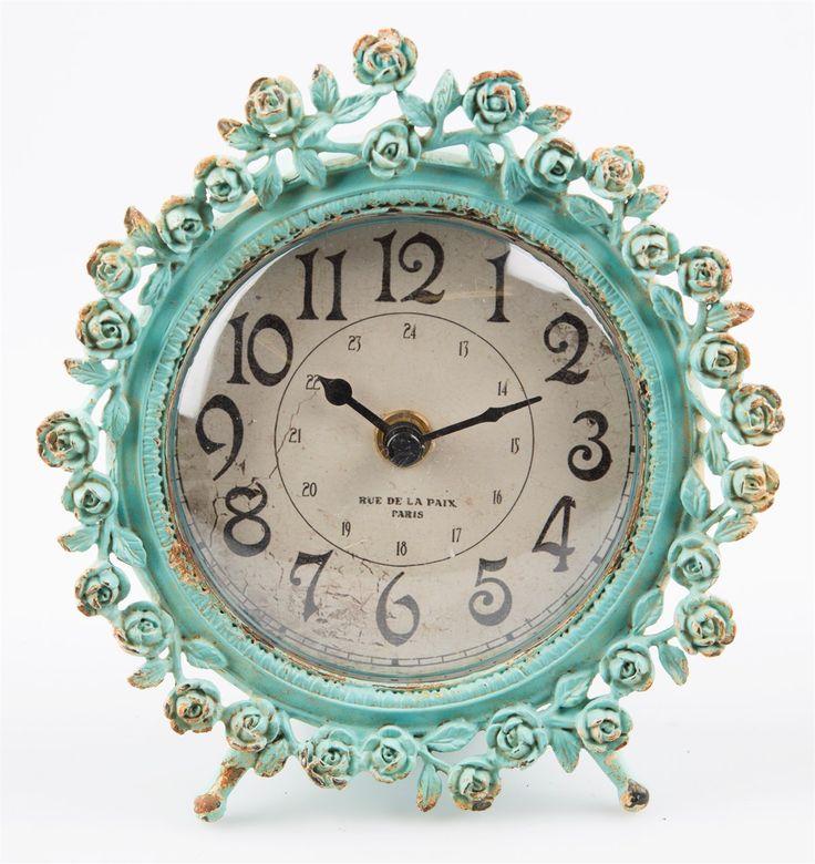 Boudoir Old Romance Round Clock Duck Egg