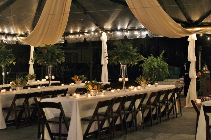 Clear Tent With Black Pole Covers Ivory Ceiling Drape