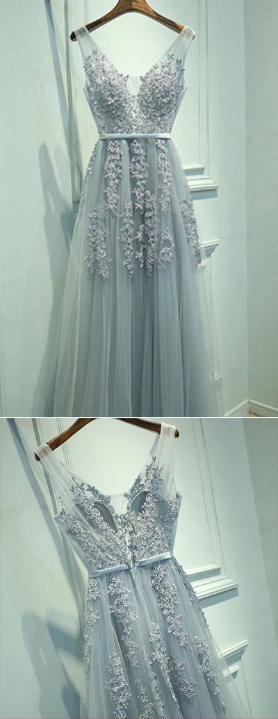 Prom Dresses,Gowns Prom,Evening Dresses,Prom Dresses Long,Party Dresses for Girls,Cheap Prom Dresses on line,V-Neck A-Line Tulle Sleeveless Prom Dresses,Gray Prom Dresses with Lace,M28