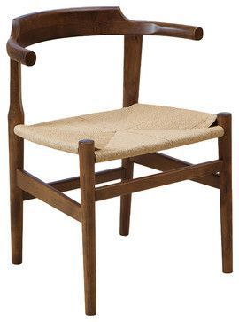 Zen Cozy & Comfortable Woven Seat Rustic Design Wood Chair - asian - Chairs - Great Deal Furniture