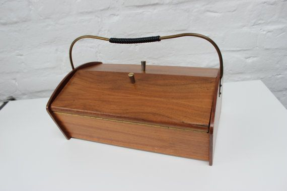 Mid century sewing box sewing box wooden Sewing Box by MellowPlace
