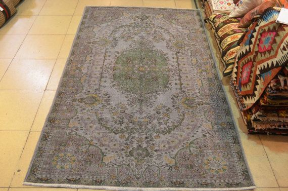 Gray overdyed rug. Rugs. Turkish vintage carpet. by turkishrugman