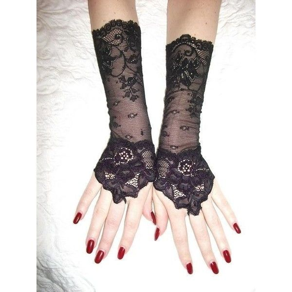 The WOLF black lace cuffs Lolita cuffs Victorian cuffs Gothic cuffs... ❤ liked on Polyvore featuring accessories, gloves, steam punk gloves, lace gloves, stretch gloves, victorian gloves and steampunk gloves