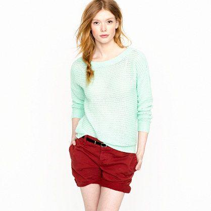 seaside aqua: Colors Combos, Fashion, Mint Green, Clothing, Cashmere Open Stitches, Openstitch Sweaters, Cashmere Sweaters, Open Stitches Sweaters, Red Shorts