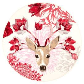 Add a quirky touch to your bedroom or study with this floral rug featuring a deer head. Its bold pattern is ideal for brightening a neutral space or contrasting dark wood interior.  Product: RugConstruction Material: 100% Polyamide loop pileColour: White and pinkFeatures:  Loop pilePrinted designNon-slip bottom Dimensions: 133 cm RoundNote: Please be aware that actual colours may vary from those shown on your screen. Accent rugs may also not show the entire pattern that the corresponding ...