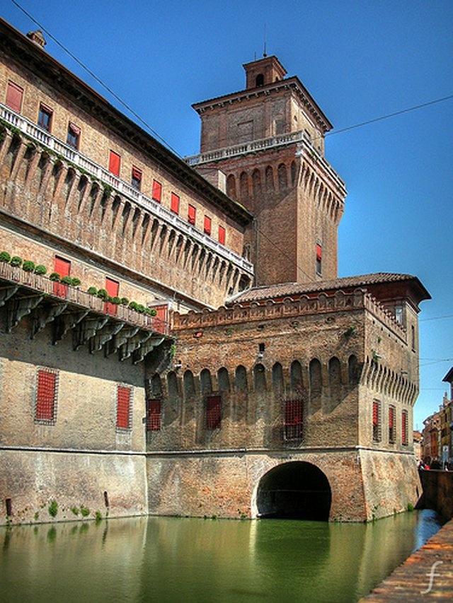 Our hotel in Ferrara was across the courtyard from this castle.