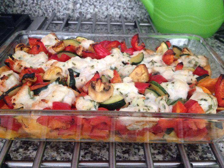 Ovenschotel zoete aardappel, courgette, paprika, champignons, kip