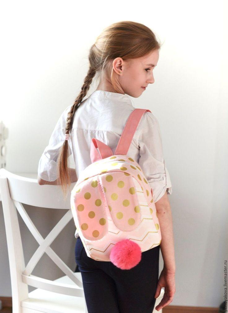"""Купить Рюкзак """"Bunny"""" золотой горошек - в горошек, кремовый, рюкзак, рюкзак для девочки, заяц, кролик"""