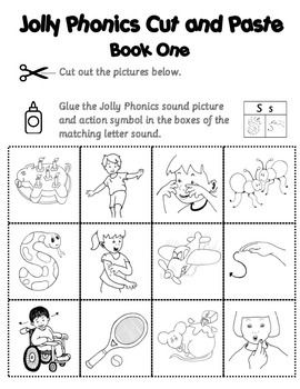 This cut and paste activity allows students to match BOTH the Jolly Phonics sound picture and the action symbols with the letter sounds. Worksheets are in official Jolly Phonics book order and each book has two sheets. One sheet contains the 12 pictures (6 sound pictures and 6 action symbols) and the other sheet is the letter sound template where pictures are paste.This activity could be printed onto card stock and laminated - then with the use of Velcro, could be used as a Center activity.