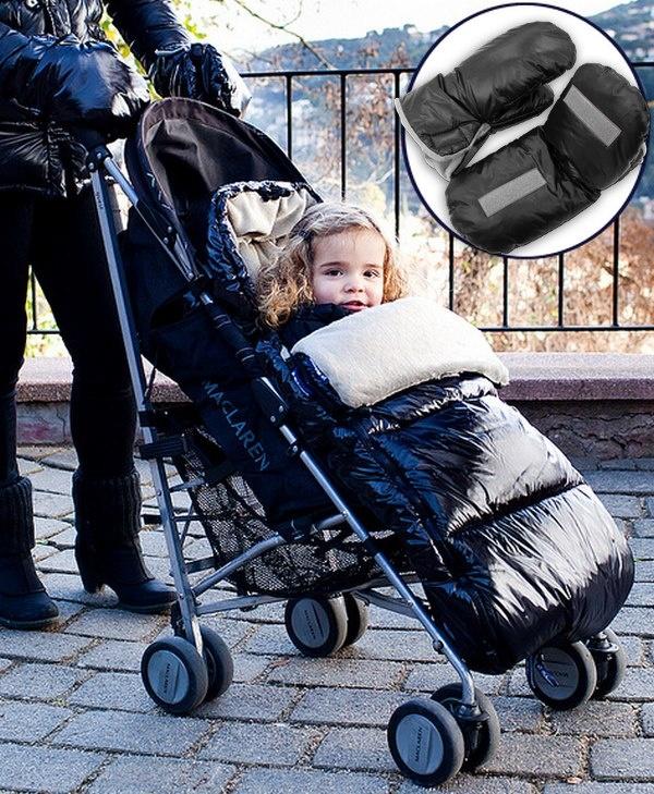 """Así son los sacos para bebés """"Polar Sac"""" para silla de paseo, de Bebemon.    En color negro, rojo o azul, con guantes a juego para la mamá, incluidos. Los velcros de los guantes permiten un agarre perfecto al manillar de la silla. ¿Te gusta la idea? ;)"""
