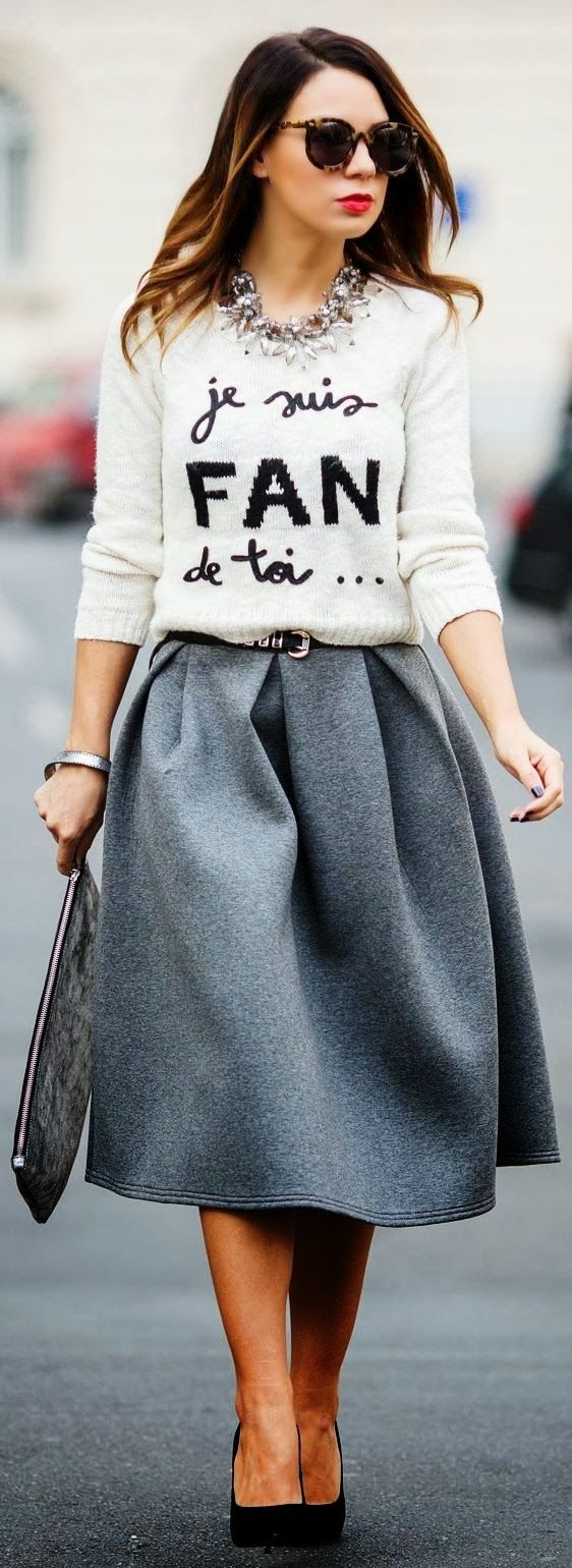 Gorgeous street fall fashion with sweater and skirt