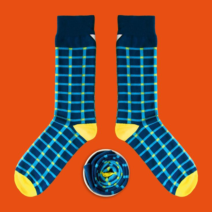 Model: Błękitno – kobaltowe skarpety w kratę Seria:  Unkeyboardinated [|] #cupofsox #skarpetki #skarpetka #socks #sock #womensocks #mensocks #koloroweskarpetki [|]