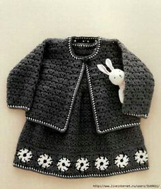 Chic girls crocheted dress and jacket.