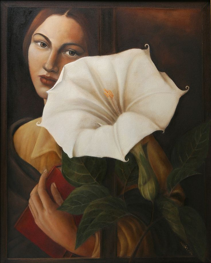 angel trumpet,,oil on canvas
