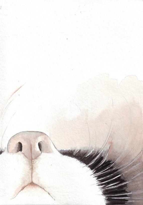 Awwwww!!!!!! Original watercolor painting black white cat kitten by HelgaMcL http://etsy.me/UqHBb2 $20.00