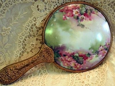 Victorian Ormolu & Porcelain Hand Held Mirror