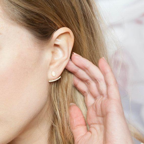 Oor jas Rose gouden oor jassen oor klimmers door luxesocietyjewelry