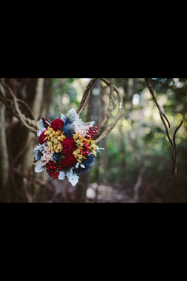 Bouquet of feather celosia , red berries, dusty miller and celosia brains <3  Flowers by www.sapphiredesigns.com Photo by www.nfedesign.com.au