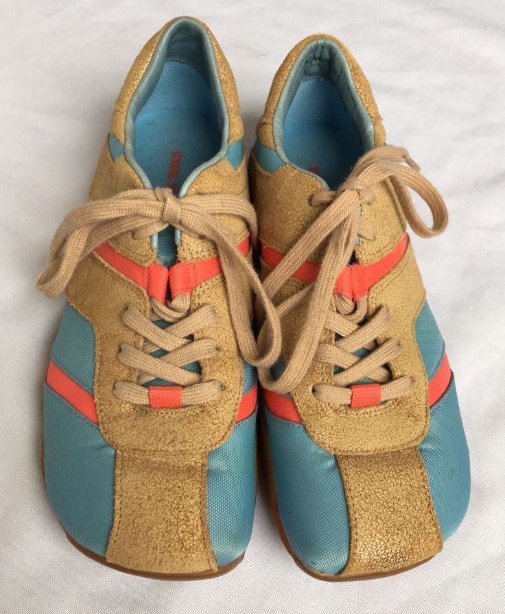 DIESEL Shaela Blue Tan Suede Leather Athletic Sneakers Shoes Women's US 7  | eBay