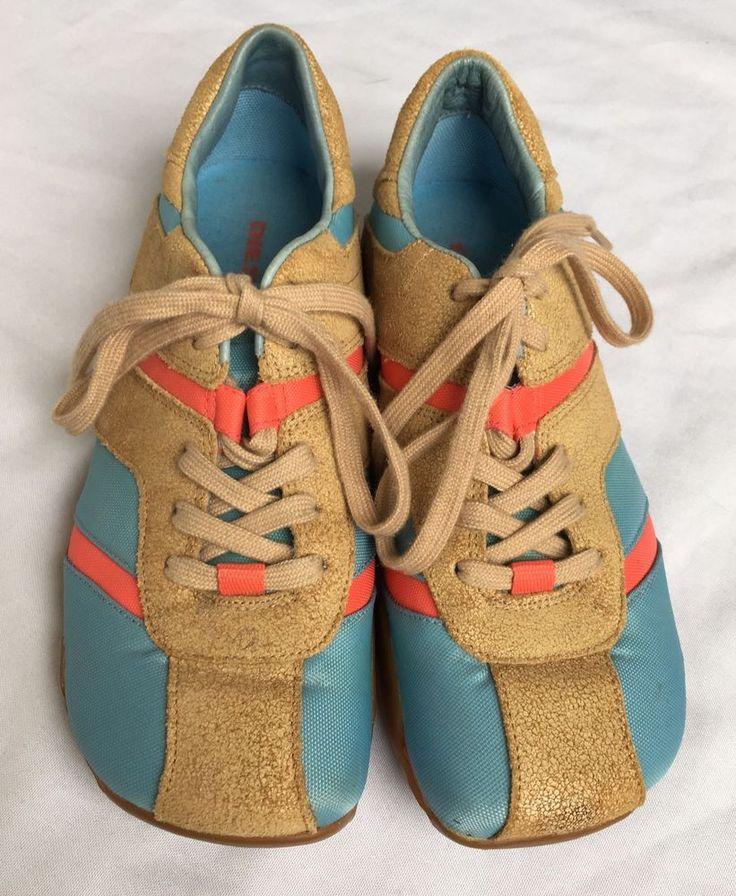DIESEL Shaela Blue Tan Suede Leather Athletic Sneakers Shoes Women's US 7 #DIESEL #Trainers