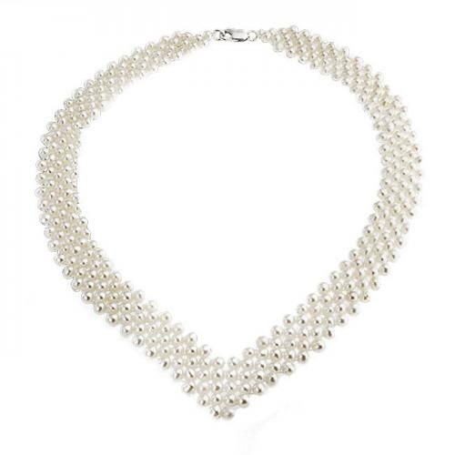 Bling Jewelry Estate Silver 5 Row V Shaped Freshwater Pearl Bridal Necklace 16in