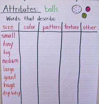 Teaching attributes/describing to kindergartners