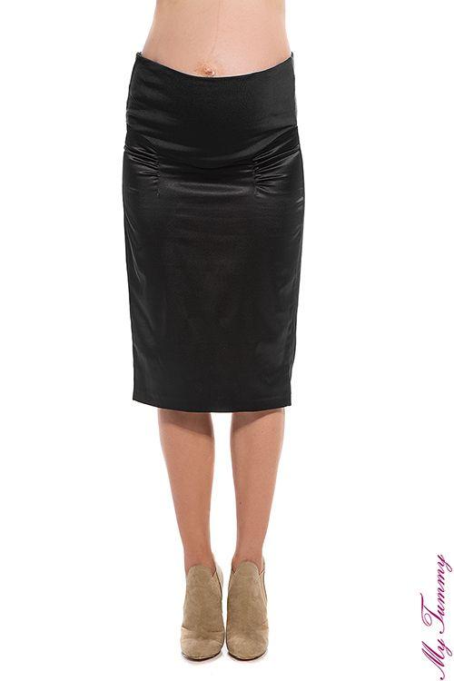 Spódnica ciążowa satynowa czarna