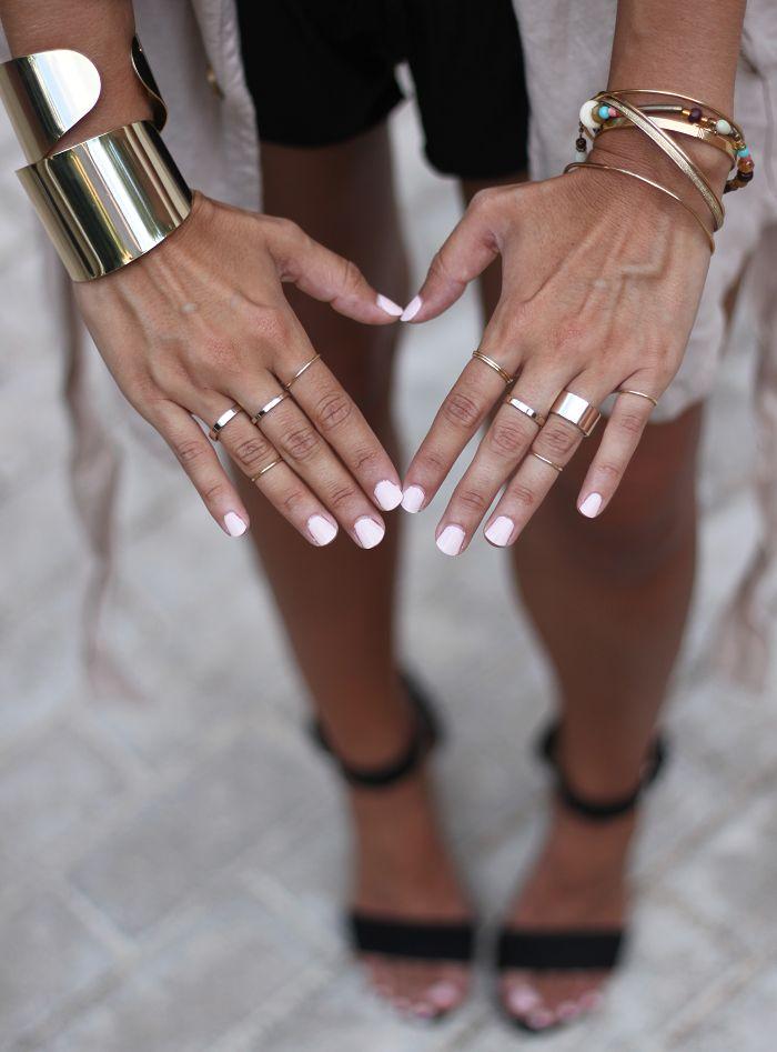 baby pink nails + gold
