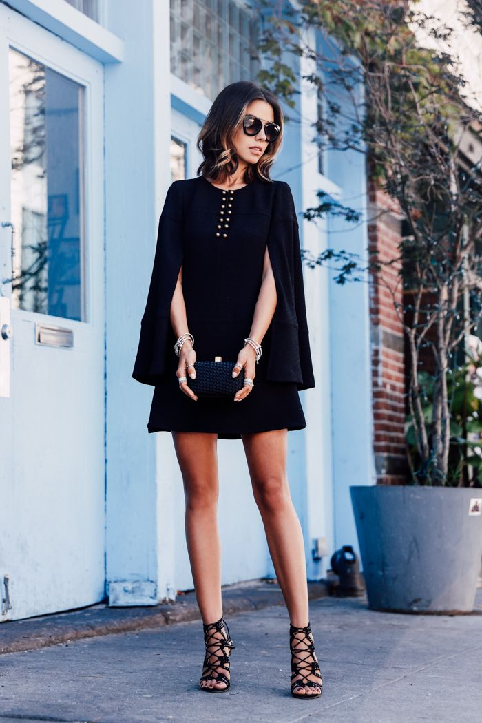spring / summer - fall / winter - street style - chic street style - casual outfits - fashion week - fall outfits - formal outfits - party outfits - holiday outfits - black cape dress + caged heeled sandals + black sunglasses + black clutch