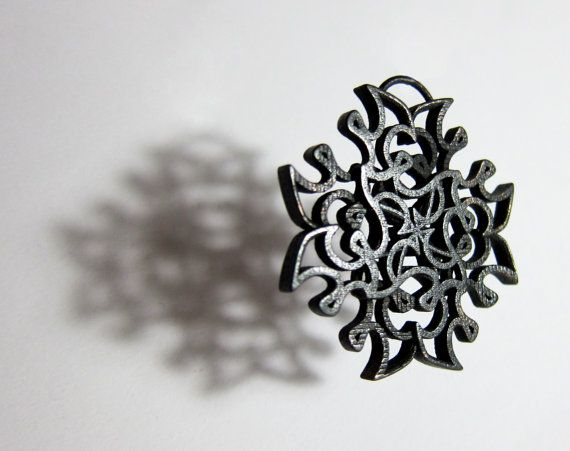 Tilted Loops Pendant 3D printed plated steel by FacetiousDesigns