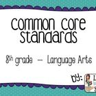 Quickly and easily display the new 8th grade ELA Common Core standards on cute and inviting posters! There is a poster for each individual common c...