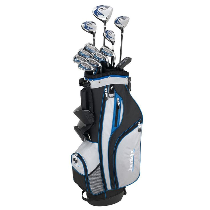 Men's Tour Edge Golf Senior HP25 Left Hand Golf Clubs & Deluxe Cart Bag Set, Silver