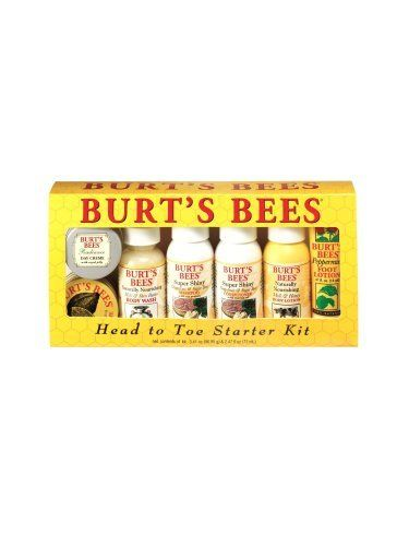 Burt's Bees Head To Toe Starter Kit by Burt's Bees. $12.98. All-natural products manufactured with no animal testing. Everything you need to cleanse, moisturize and pamper yourself naturally. One kit containing a selection of sample size creams and cleansers, including Almond Milk Beeswax Hand Creme, Citrus Spice Exfoliating Shower Soap, Vitamin E Body and Bath Oil, and more. Produced in Durham, North Carolina. Products feature orange oil to stimulate circulatio...