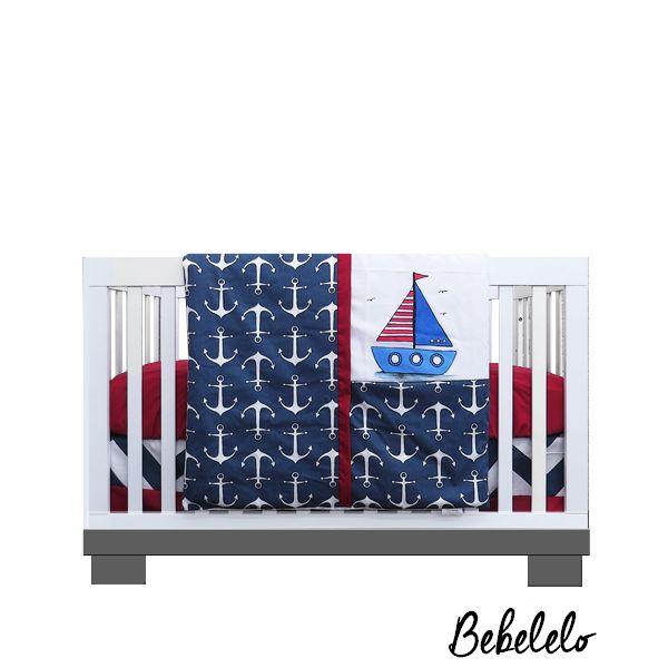 Literie 4 Mcx Bateau Rouge et Bleu #265  Amusant et fabuleux. Ce tissu élégant ancre de bateau caractéristiques des nuances de bleu avec du rouge. Fabriqué à partir de 100% coton ce tissu est le complément parfait à tout décor pour la chambre de votre petit ange. Avec une peinture unique d'un Bateau. #boatanchers #anchors #ancredebateau #bateau #boat #blue #red #bleu #rouge