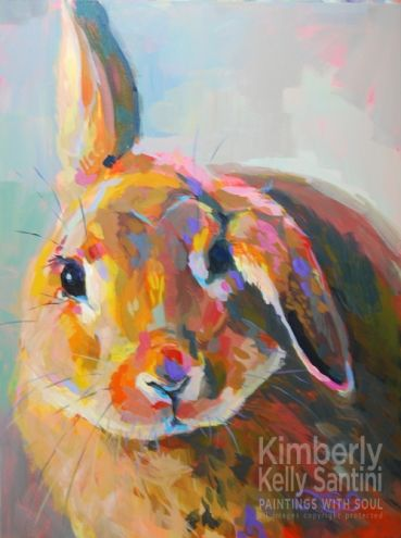 Flopsy, Working For Homeless Bunnies, painting by artist Kimberly Kelly Santini