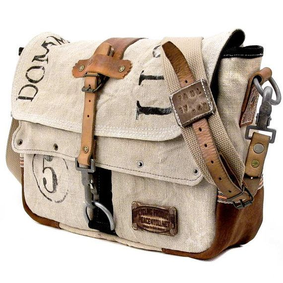 Canvas Designer Messenger  // Upcycled and Handmade by peace4you, $283.00    wow.  I wish I could make this myself! I LOVE messenger bags...