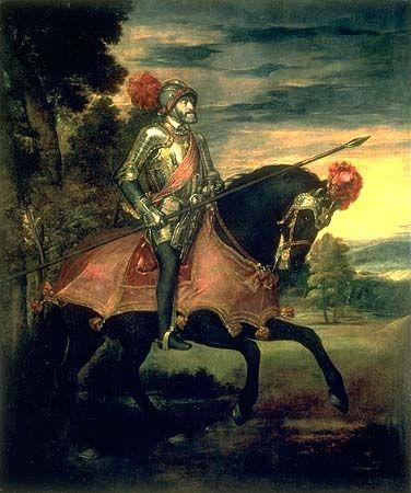 """Nos encontramos ante un cuadro realizado por Tiziano Vecellio di Gregorio, titulado """"El emperador Carlos V a caballo en Mühlberg""""."""