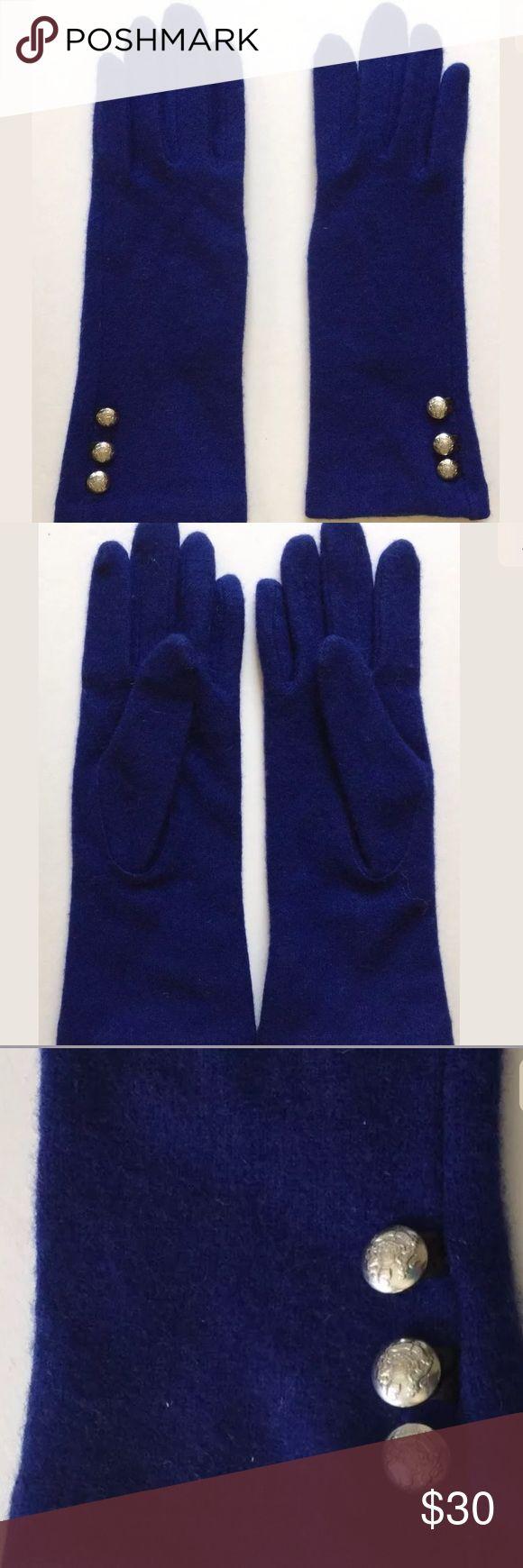 Ralph Lauren Gloves Blue Silver Buttons Size S Ralph Lauren Womens Gloves  Royal Blue  3 Silver Buttons at wrist Wool Cashmere Blend  Size S Ralph Lauren Accessories Gloves & Mittens