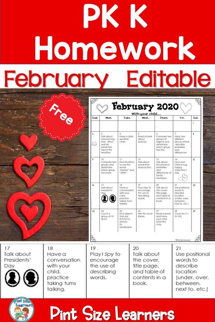 Homework Calendar Pk K Editable February 2020 Free In 2020 With
