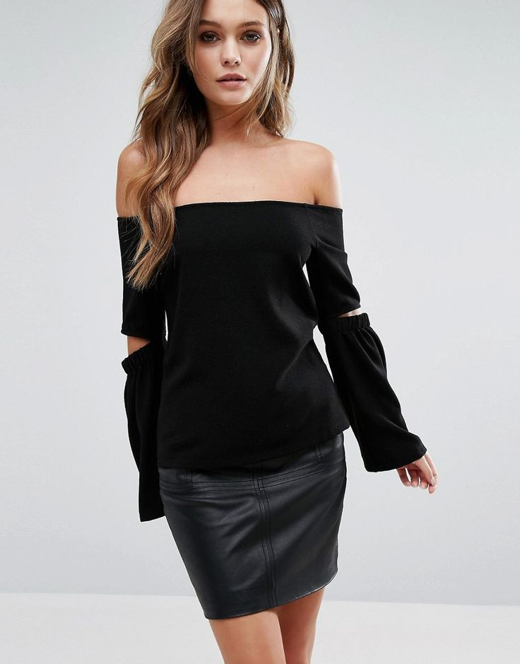 Buy it now. New Look Split Sleeve Bardot Top - Black. Top by New Look, Textured woven fabric, Off-shoulder design, Cut-out sleeve detail, Regular fit - true to size, Machine wash, 98% Polyester, 2% Elastane, Our model wears a UK 8/EU 36/US 4. ABOUT NEW LOOK Transforming the coolest looks straight from the catwalk into wardrobe staples, New Look joins the ASOS round up of great British high street brands. Get it or regret it with its weekly drops of essential coats, statement partywear and…