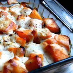 Paleo Butternut Squash Gratin- with creamy cauliflower sauce.
