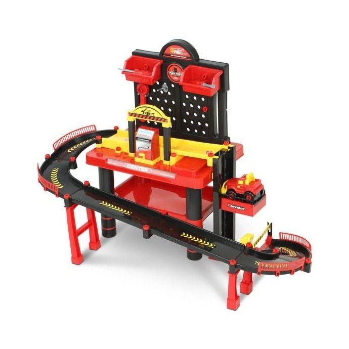 Leikkiautorata/-työpöytä, 99,95 €. Vauhdikas leikkiautorata, jossa samassa paketissa leikkityökalupöytä. Autoradassa on vauhdikas ramppi, hissi sekä puomi. Mukana leikkiauto ja muutama leikkityökaluja leikkisään autojen korjaamiseen. Ilmainen kotiinkuljetus! #leikkiautorata