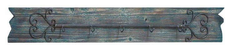Antiqued Vintage-Look Metal Scrollwork Hooks Wood Wall Hat Rack Coat Hanger Rust