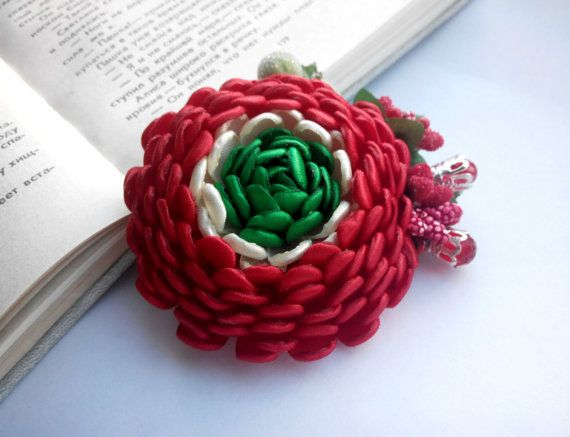 Red Flower Hair Accessory/ Red Hair Clip/Girls by AirinFlowers