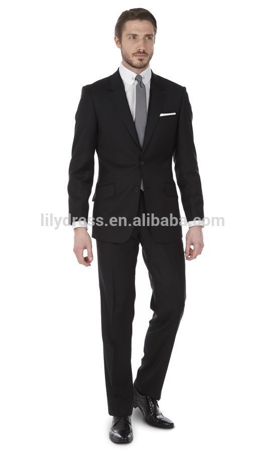 Custom Made Two Buttons Double Vents Navy Blue Regular Fit Men's Business Suits(Jacket+Pants+Tie)BS105 Cheap Dress Suits For Men